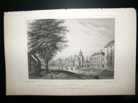 Holland Netherlands C1850's Antique Print. Utrecht, Wittevrouwen port